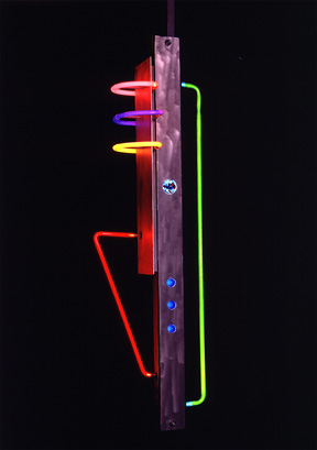 """Tribute"", featured in this virtual neon art gallery, displaying the neon sculpture and neon art installations, including modern and contemporary art work as well as a line of neon clocks and wall sconces"