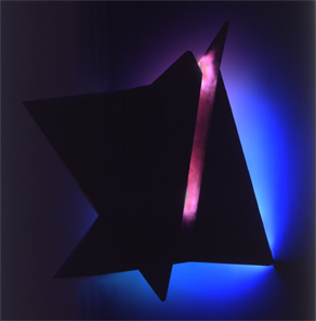 """Folded II"", featured in the virtual neon art gallery, this site displays the neon art, neon sculpture and neon art installations of neon artist Eric Ehlenberger, including modern and contemporary art work as well as a line of neon clocks and wall sconces"
