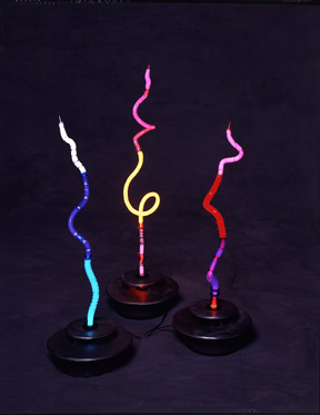 Small Stalaglites, featured in this virtual neon art gallery, displaying the neon sculpture and neon art installations, including modern and contemporary art work as well as a line of neon clocks and wall sconces