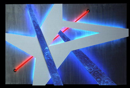 Tectonic VI, featured in this virtual neon art gallery, displaying the neon sculpture and neon art installations, including modern and contemporary art work as well as a line of neon clocks and wall sconces