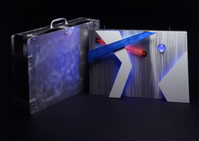 """Portable Tectonic"", exhibited in this virtual neon art gallery exhibition of neon sculpture and neon art installations"