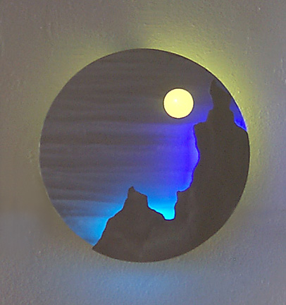 """DiscScape I"", a neon art sculpture wall sconce"
