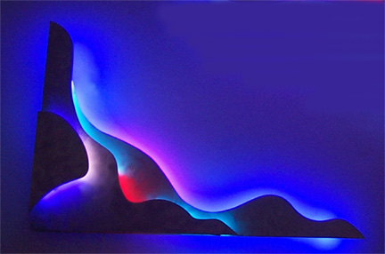 """Corner Work II,"" featured in this virtual neon art gallery, displaying the neon sculpture and neon art installations, including modern and contemporary art work as well as a line of neon clocks and wall sconces"