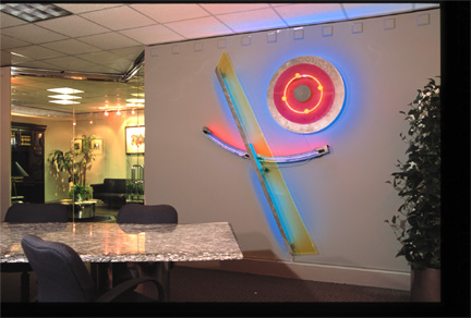 Celebration III, exhibited in this virtual neon art gallery exhibition of neon sculpture and neon art installations