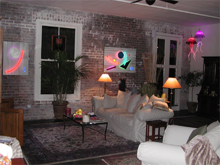 St Raymond neon sculpture art installation: contemporary home interior decoration: and Interior Design
